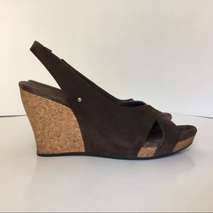 UGG Hazel brown sling back cork wedges Size:10